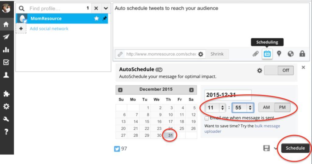 hootsuite tweets schedule