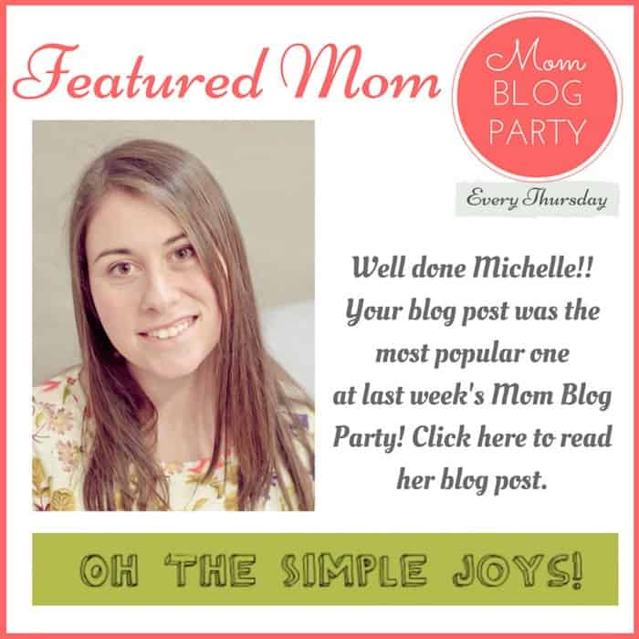 "Congratulations to Michelle from Oh The Simple Joys! Her post ""Teaching Kids to Express Their Feelings Early"" was the most popular one from last week's mom linkup. Michelle blogs about a variety of different topics – from homeschooling to recipes to parenting, she has many interesting posts to choose from. Checkout her winning blog post here & have a look around her site while you're there: http://ohthesimplejoys.com/?p=793"