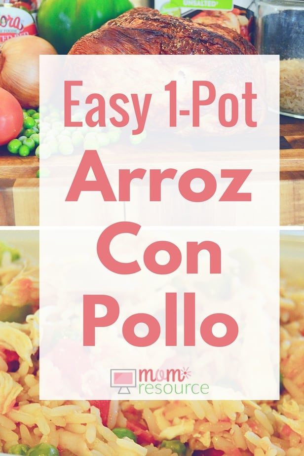 Arroz con pollo recipe: this EASY 1-pot recipe does not disappoint! Keep this arroz con pollo recipe in mind whenever you have leftover chicken in your fridge! Arroz con pollo (rice with chicken) is a classic latin recipe with MANY versions (Puerto Rican, Mexican, Cuban, Peruvian, Spanish, Columbian, Dominican, etc). www.momresource.com/arroz-con-pollo-recipe