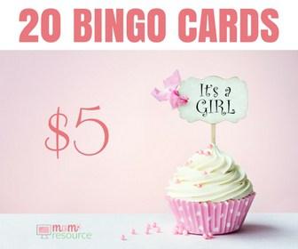 Baby Shower Bingo Cards for girls