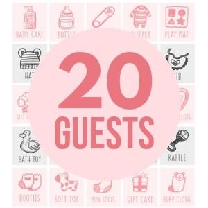 20 girl baby bingo cards game