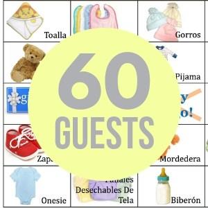 60 baby bingo cards
