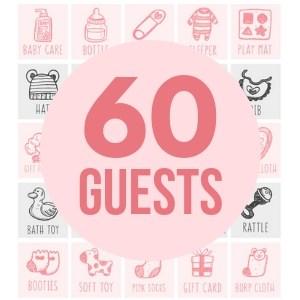 60 girl baby bingo cards game