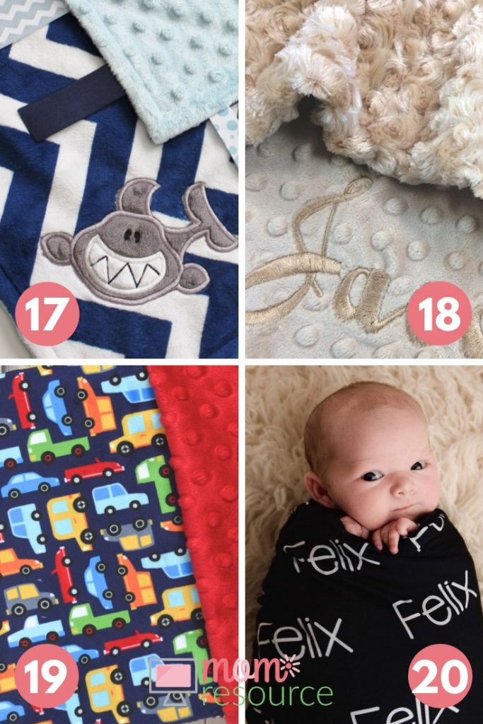 Personalized baby blanket ideas with monograms, embroidery and minky fabrics. Personalize your baby blanket with different awesome fabrics and have baby boy's name or monogram added to create the perfect personalized & unique baby gift.