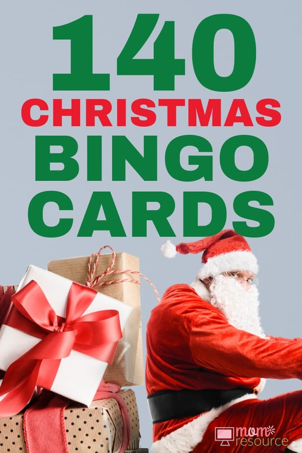 Best printable Christmas game for large group! With words and pictures and instructions, these bingo cards are the perfect game for any Christmas party!