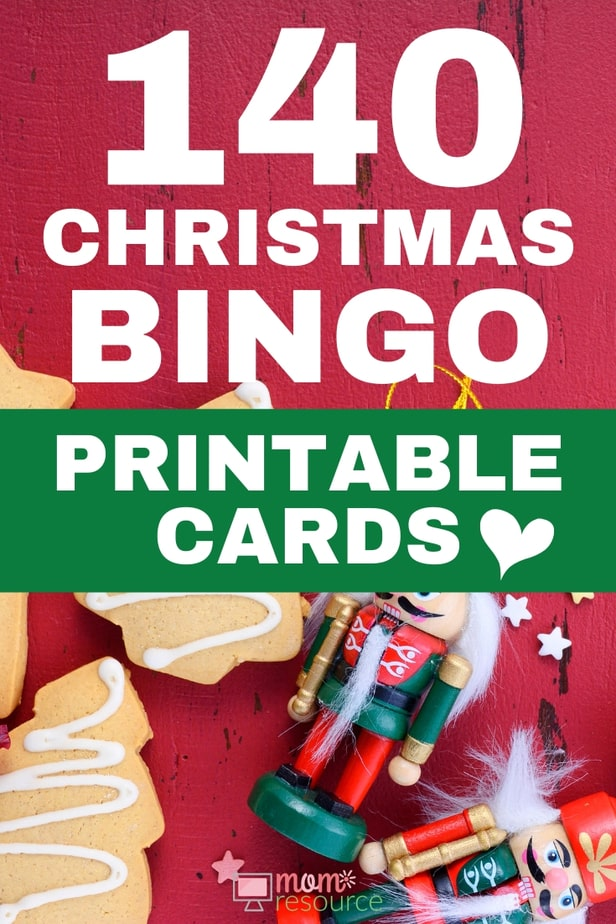 Best Christmas printable bingo game for large group! With words and pictures and instructions, these bingo cards are the perfect game for any Christmas party!