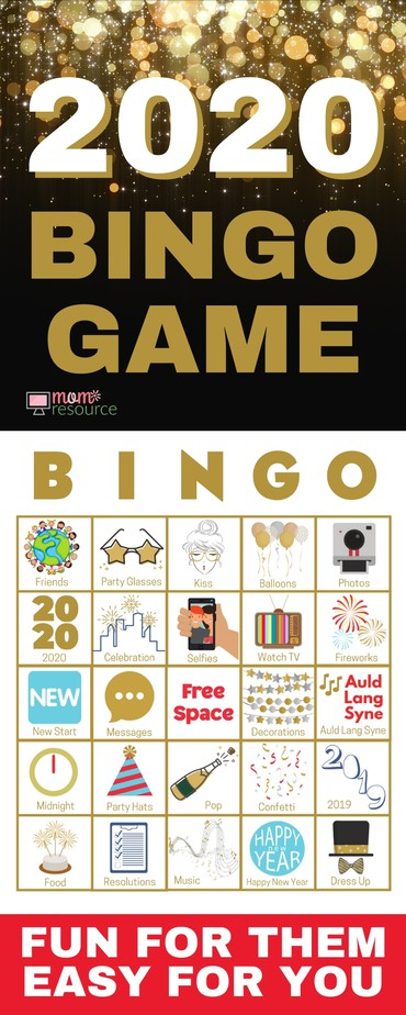 Fun New Years Eve Party Games - easy to print & play for all ages. Bingo is always a hit party game for adults, for teens, for kids, and for families. This 2019 - 2020 New Years Even party game is perfect for your party! Complete instructions included. All game cards are unique.