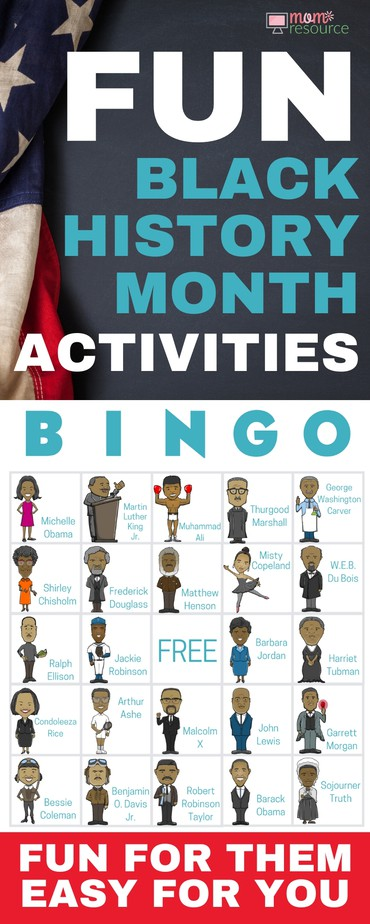 Black History Month activities perfect for kids of all ages! Get 40 printable game cards now - a fun theme for teens, for church, for work, for seniors, etc. Grab this Black History Month game with words & pictures & instructions for how to play. These bingo game cards are the perfect activity & idea for your group during Black History Month!
