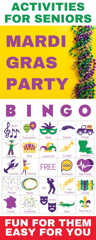 Mardi Gras party games perfect for any group! Get 50 printable game cards now - a perfect holiday theme for your Mardi Gras party for kids or Mardi Gras Day party for seniors or your work office party. With words and pictures and instructions, these game cards are a perfect Mardi Gras party idea! Also loved printable entertainment for school, preschool, for work, for teens, for seniors, nursing home, office, for kids. Everyone loves this modern twist on a classic favorite game!