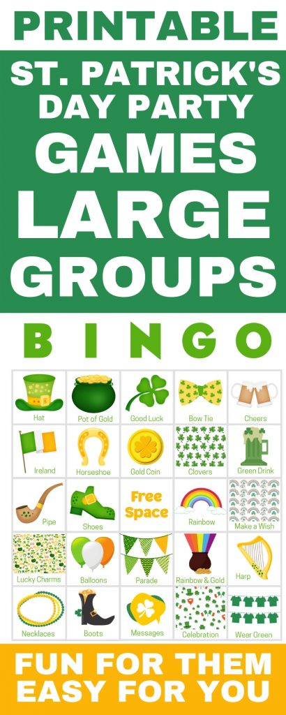 St. Patrick's Day large group activities - perfect for your large group! Get 100 printable game cards now - a perfect holiday theme for a St. Patrick's Day party with kids or St. Patrick's Day party for adults or office parties. With words and pictures and instructions for how to play, these bingo cards you'll find the perfect games & ideas for your St. Patrick's Day party!