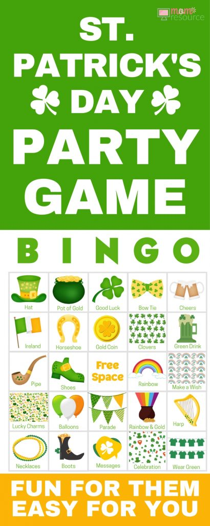 St. Patrick's Day party games perfect for any group! Get 100 printable game cards now - a perfect holiday theme for a St. Patrick's Day party with kids or St. Patrick's Day party for adults or office parties. With words and pictures and instructions for how to play, these bingo cards you'll find the perfect games & ideas for your St. Patrick's Day party!