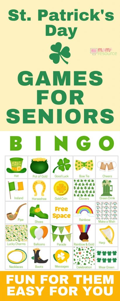 St. Patrick's Day games for seniors - perfect for small or large groups! Get 100 printable game cards now - a perfect holiday theme for a St. Patrick's Day party game for adults & parties. With words and pictures and instructions for how to play, these bingo cards you'll find the perfect games & ideas for your St. Patrick's Day party!